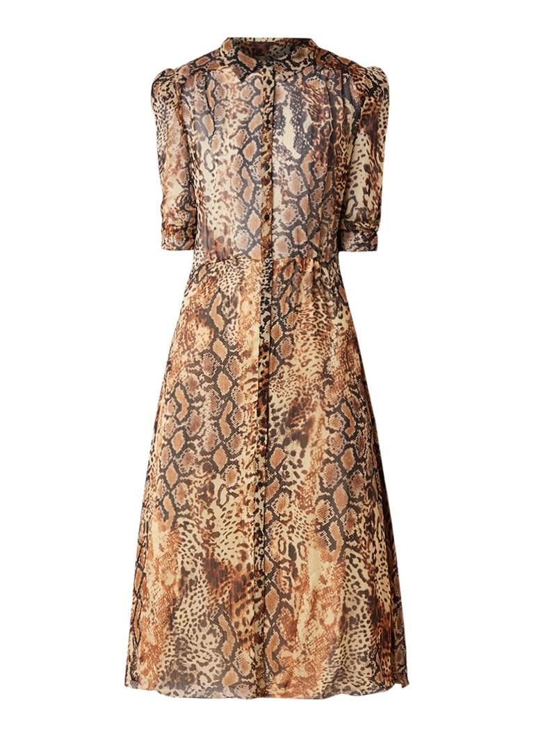 BA&SH Rozy semi-transparante jurk met slangendessin bruin