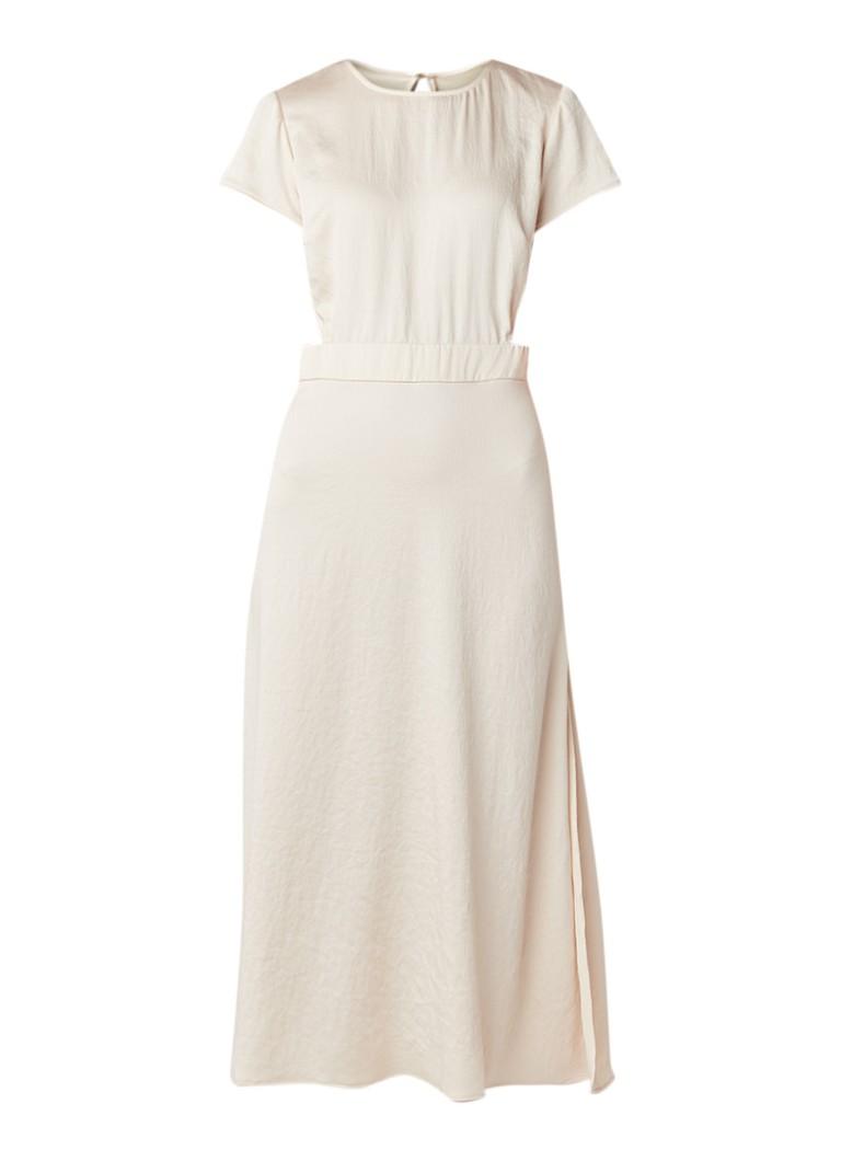 BA&SH Ritz midi-jurk van satijn met cut-out ivoor