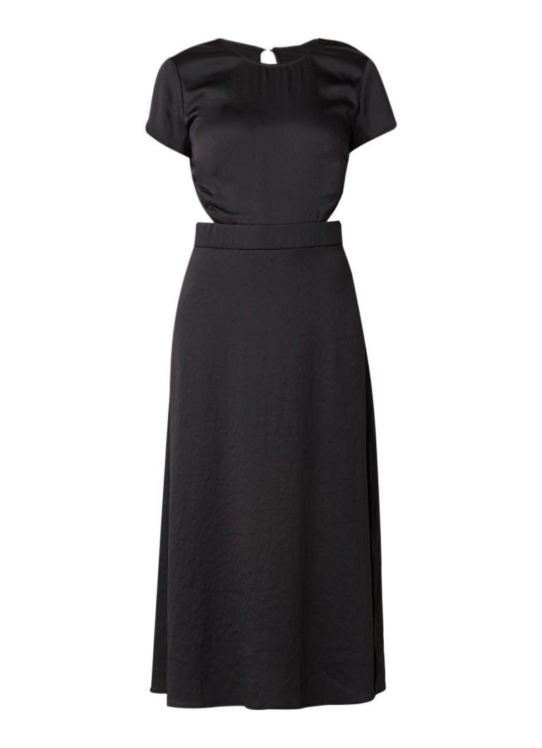 BA&SH Ritz midi-jurk van satijn met cut-out zwart