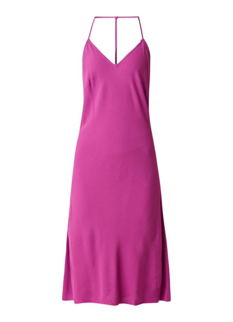 BA&SH Faustine mouwloze midi-jurk met rugdecolleté fuchsia