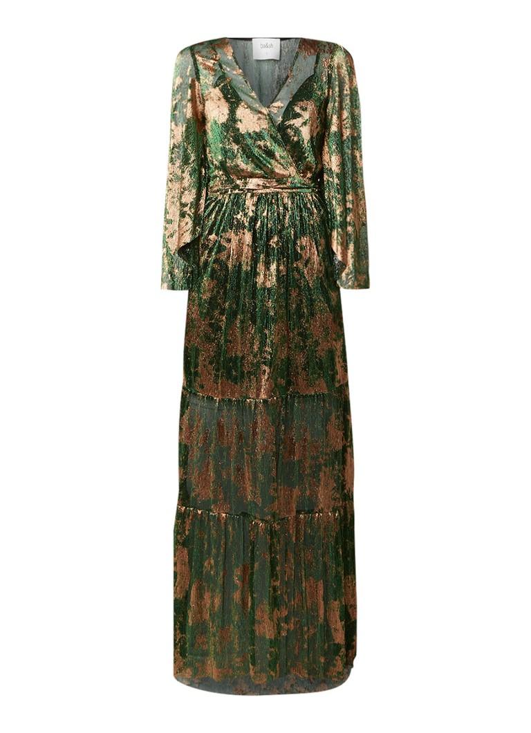 BA&SH Vianca semi-transprante maxi-jurk met lurex flessengroen