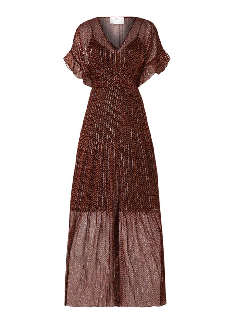 BA&SH Wanda semi-transparante maxi-jurk met dessin bruin