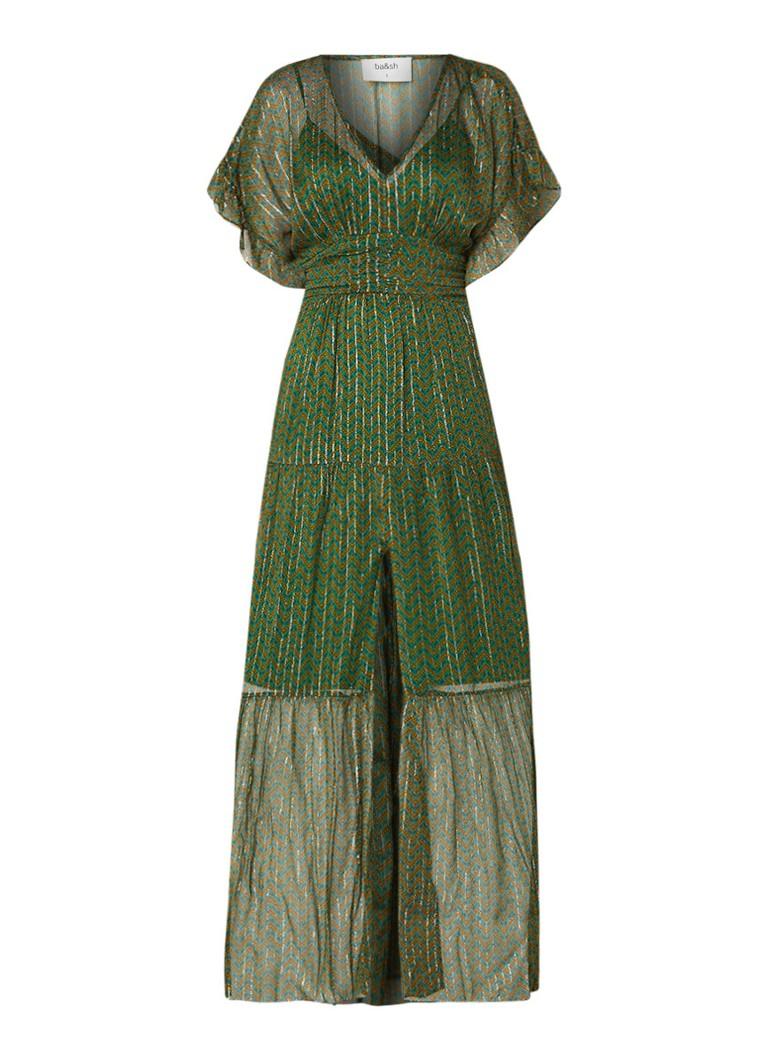 BA&SH Wanda semi-transparante maxi-jurk met dessin flessengroen