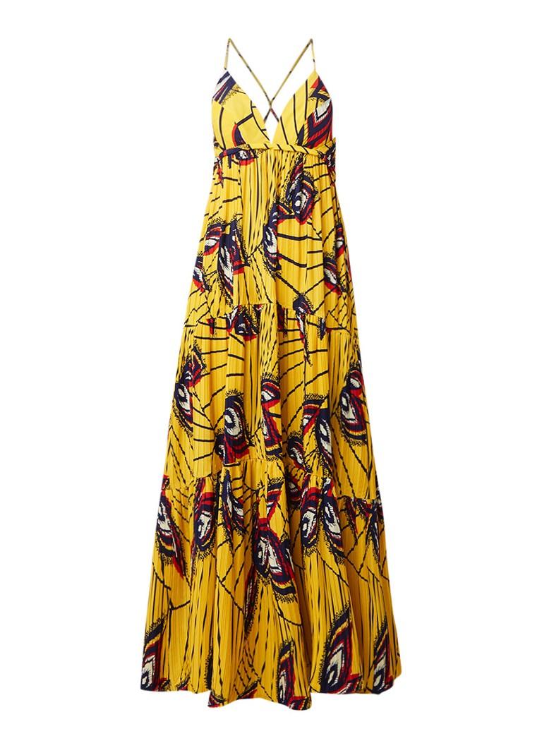 BA&SH Weave maxi-jurk met plissé en rugdecolleté geel
