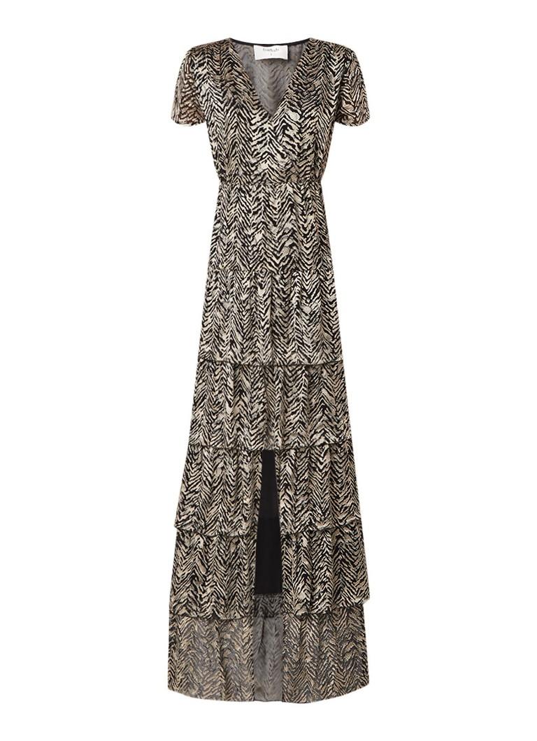 BA&SH Zelie maxi-jurk in zijdeblend met animal dessin zwart