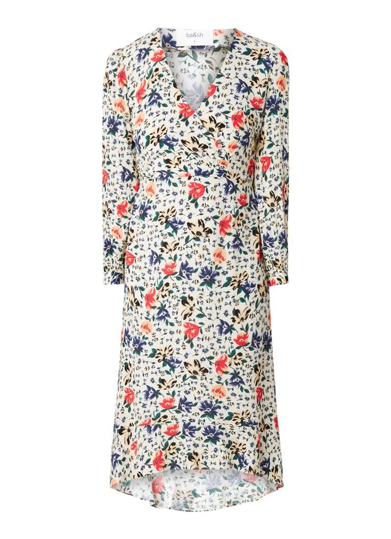 BA&SH Paloma midi-jurk met bloemendessin en volant gebroken wit