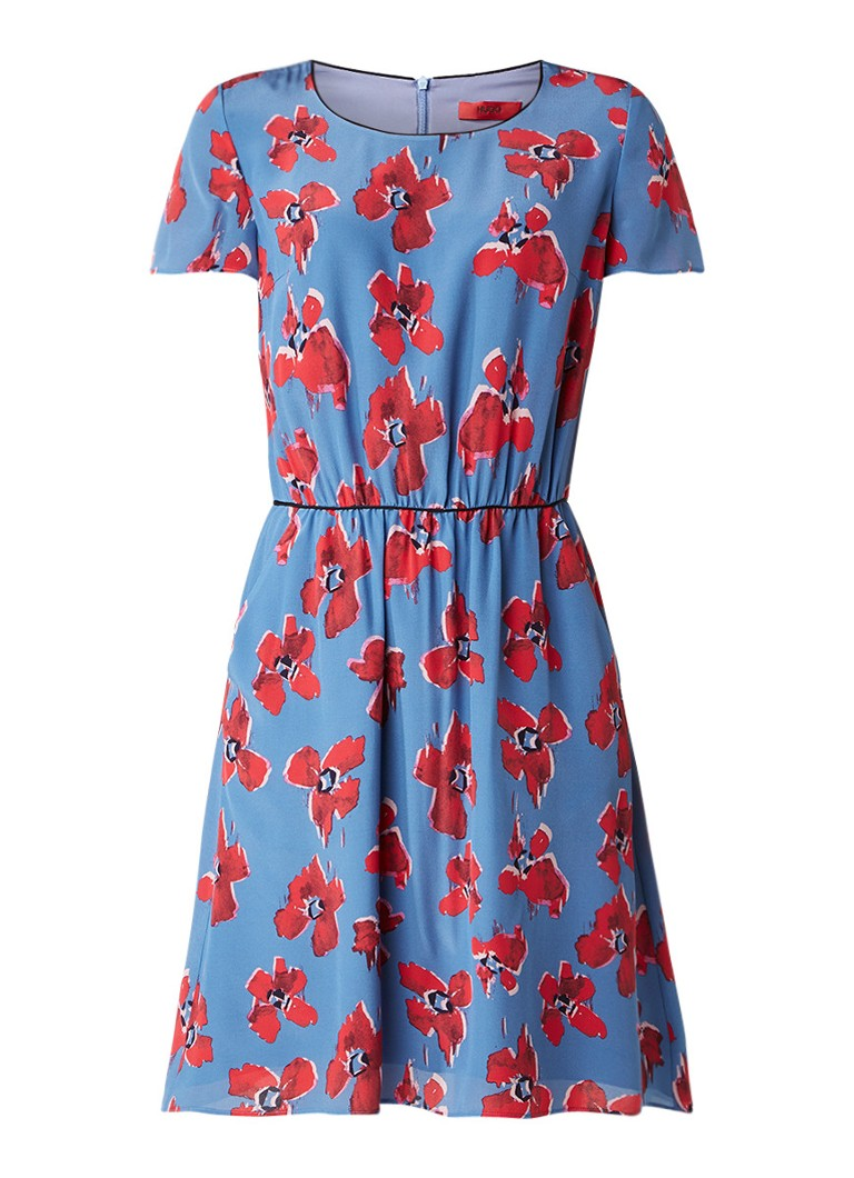 Hugo Boss Konett A-lijn jurk van zijde met bloemendessin staalblauw