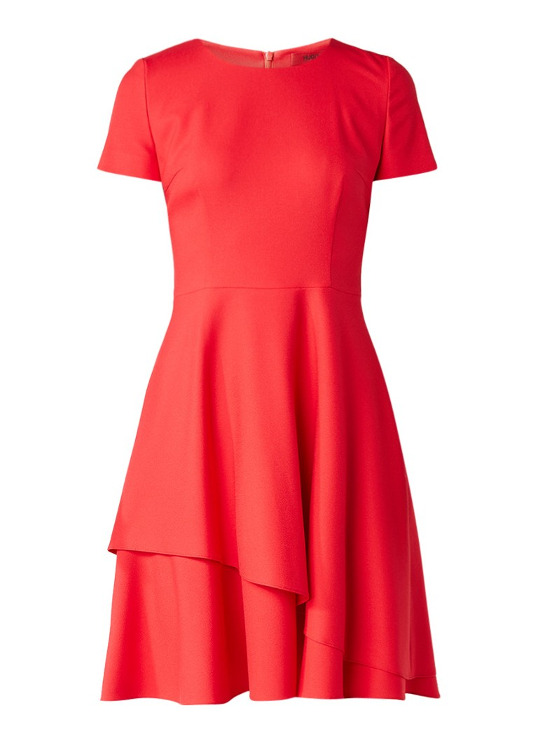 Hugo Boss Kayna A-lijn jurk met lagen rood