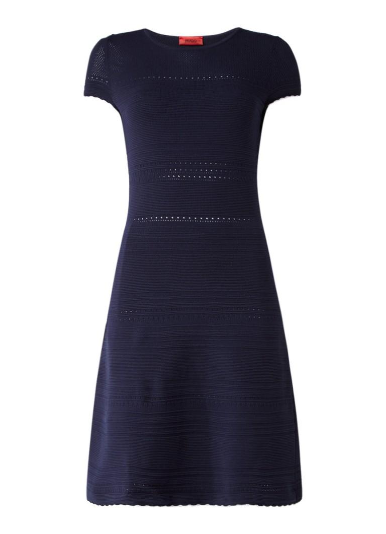 Hugo Boss Shaya fijngebreide jurk met ribstructuur donkerblauw
