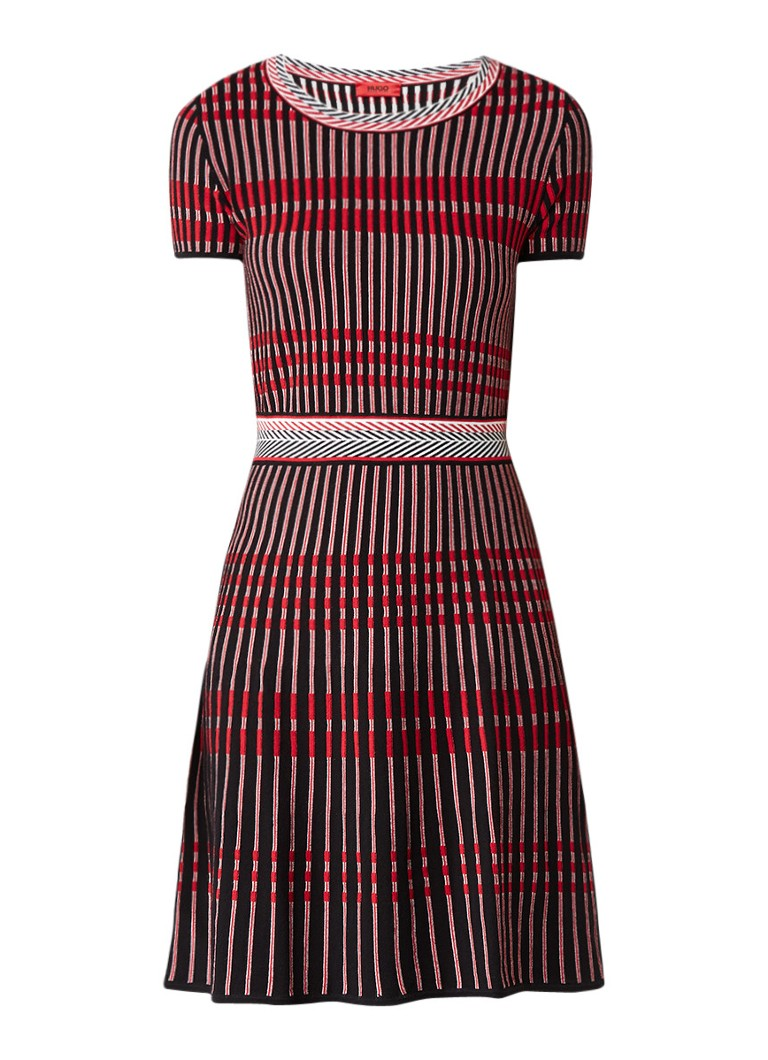 Hugo Boss Suzetta fijngebreide midi-jurk met streepdessin rood