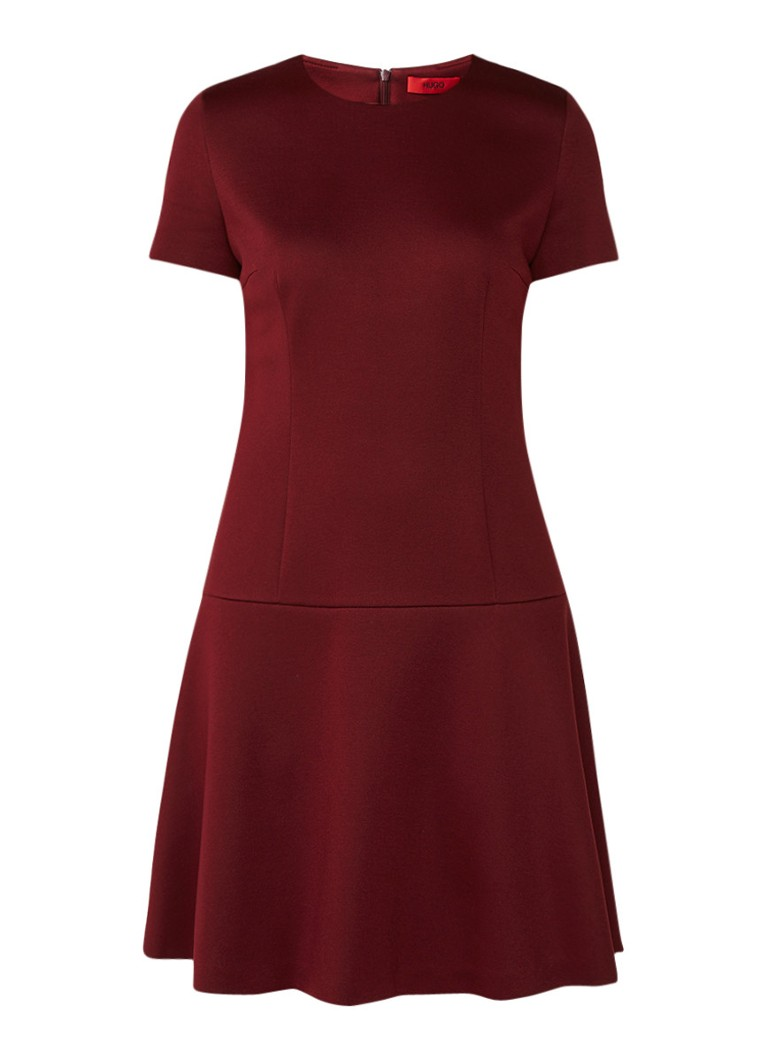 Hugo Boss Kiril A-lijn jurk met korte mouw bordeauxrood