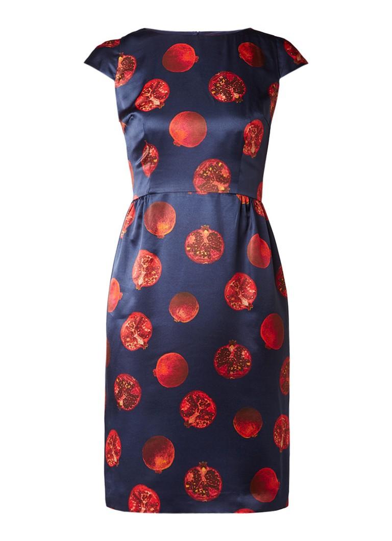 Hugo Boss Kanias A-lijn jurk in zijdeblend met dessin donkerblauw