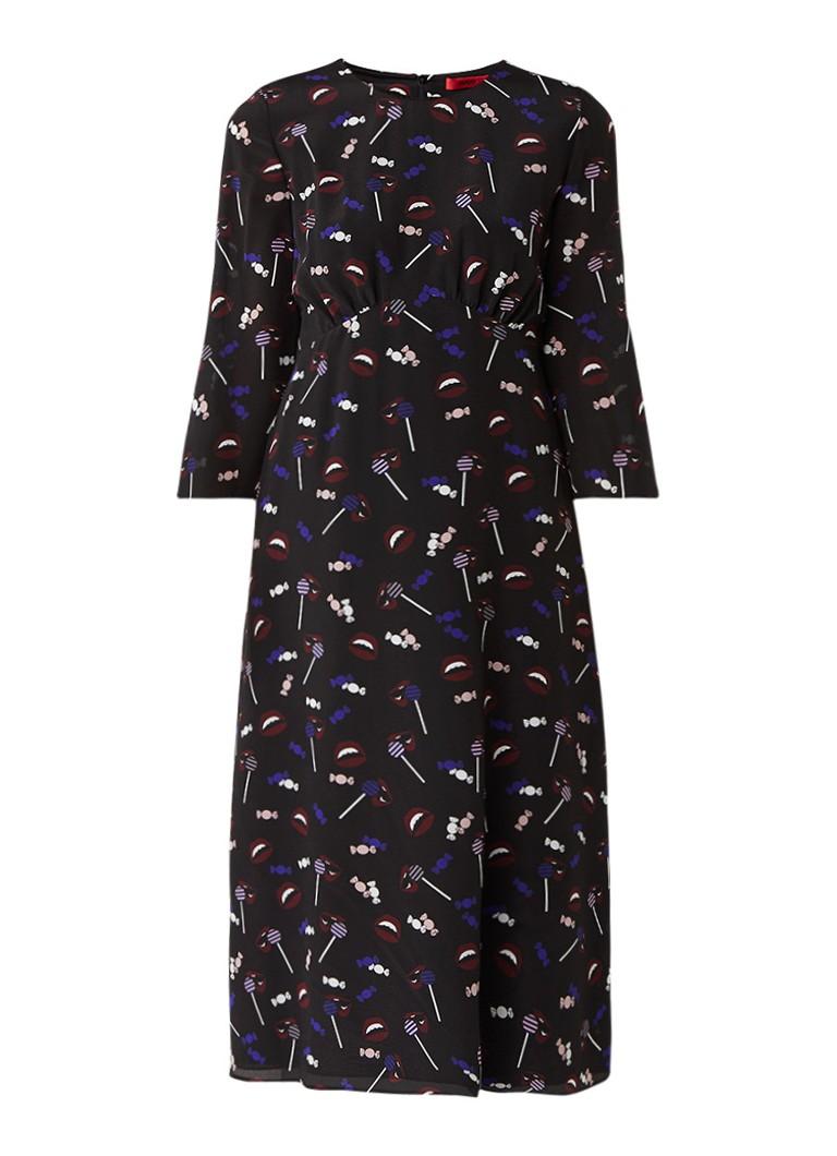 Hugo Boss Kinatha midi-jurk van zijde met snoepprint zwart
