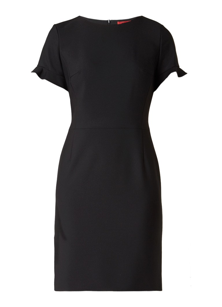 Hugo Boss Kamire midi-jurk met korte volantmouw zwart
