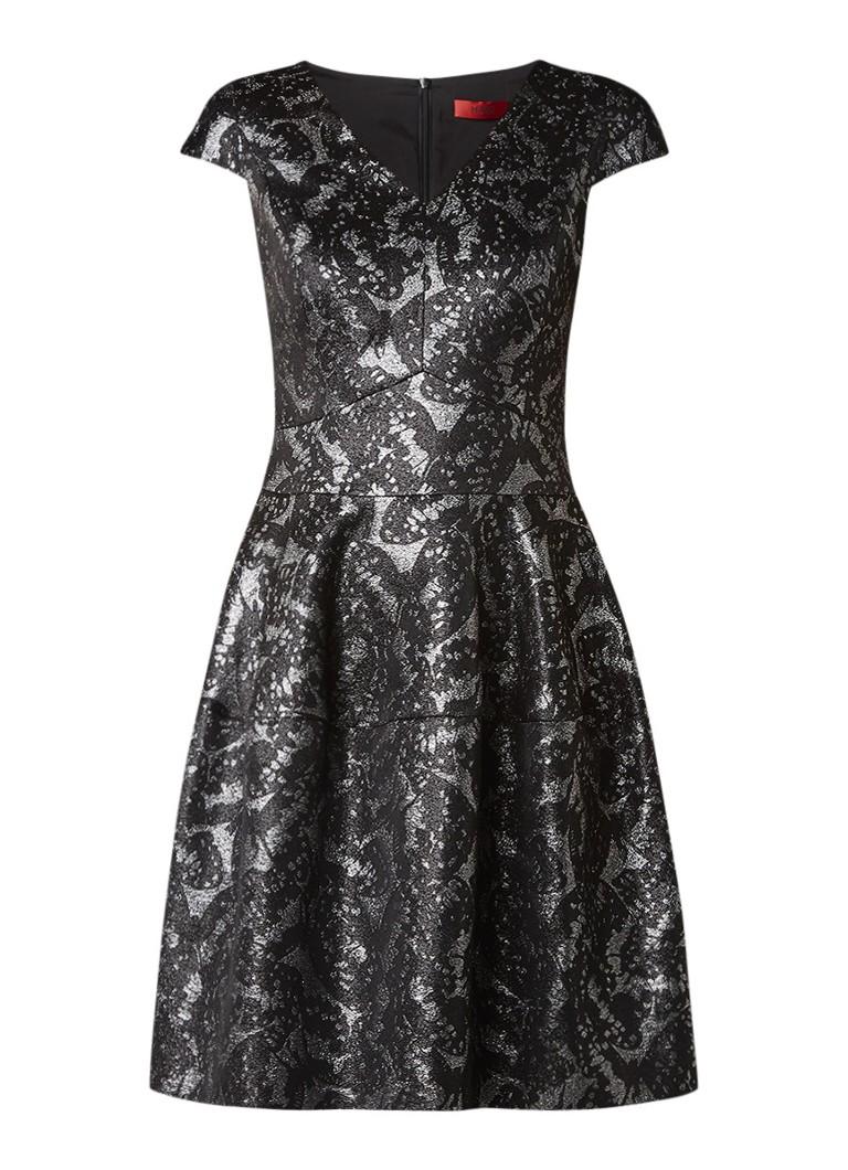 Hugo Boss Konelly A-lijn jurk met jacquard dessin zwart