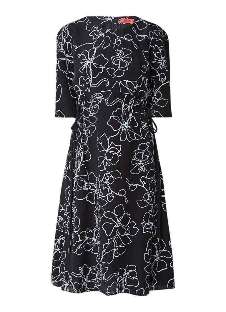 Hugo Boss Kanatha A-lijn jurk van zijde met taillekoord zwart