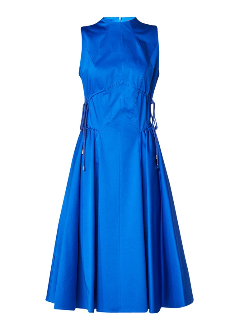 Hugo Boss Kolini A-lijn jurk van katoen met rijgdetails royalblauw