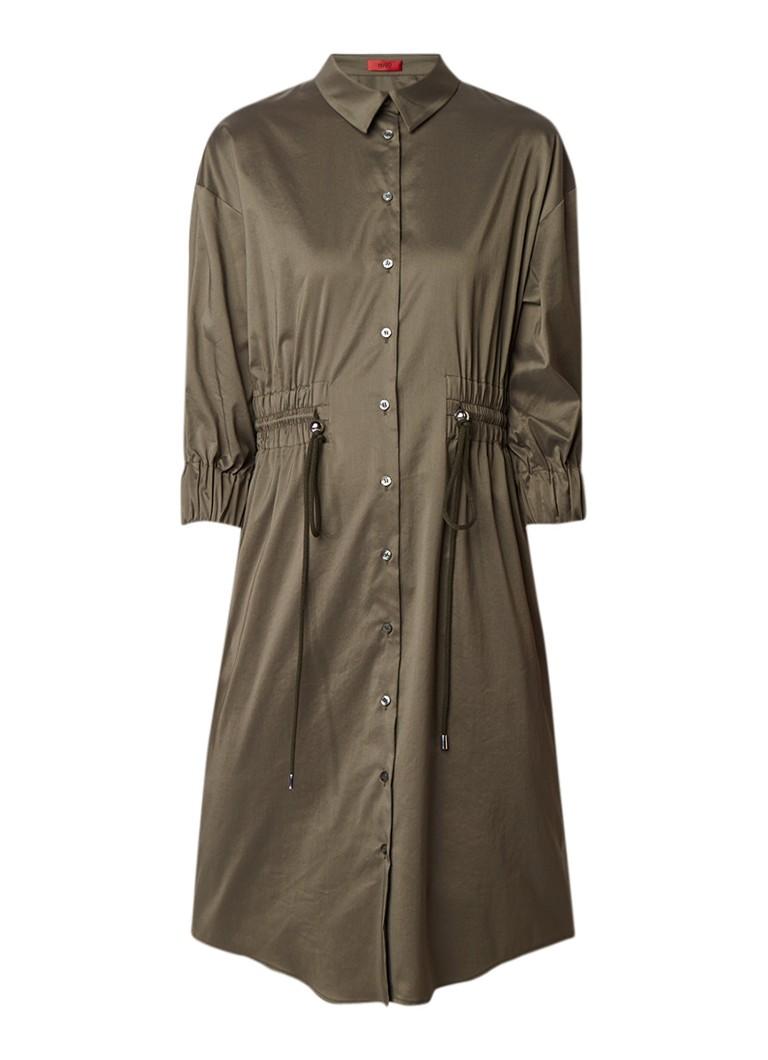Hugo Boss Kenetta blousejurk met taillekoord donkergroen