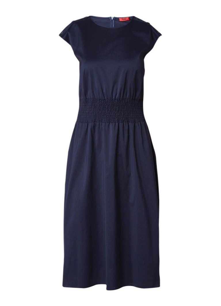 Hugo Boss Kaveni midi-jurk van katoen met smockwerk donkerblauw