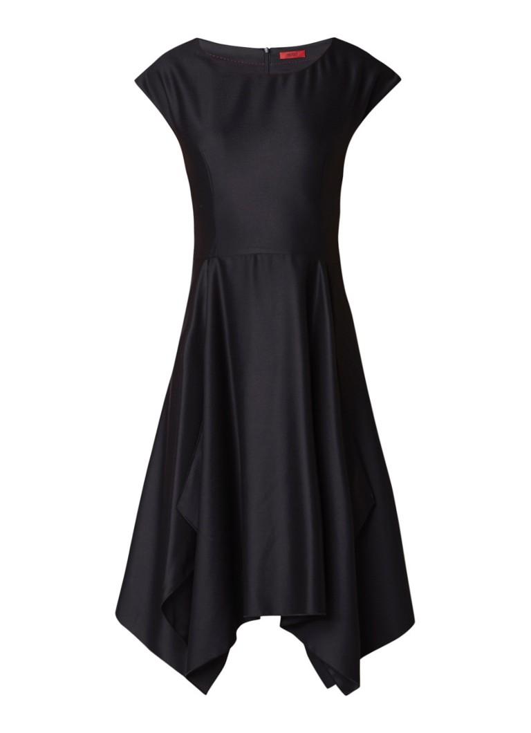 Hugo Boss Kestelle A-lijn jurk van satijn met deelnaden zwart