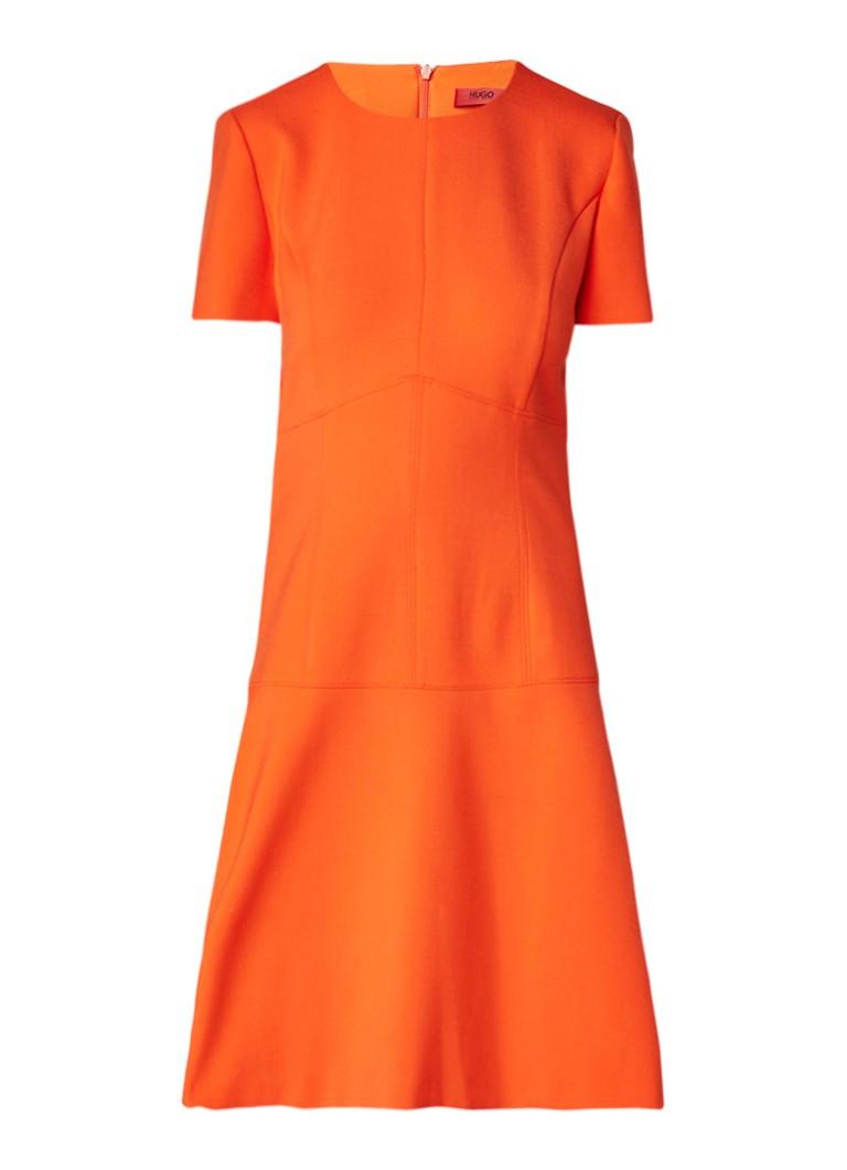 Hugo Boss Karlia A-lijn jurk met ronde hals oranje