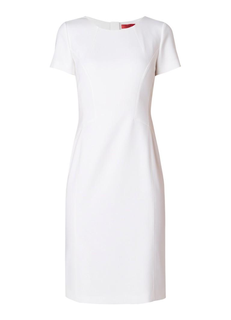 Hugo Boss Kirella midi-jurk in katoenblend met deelnaden gebroken wit