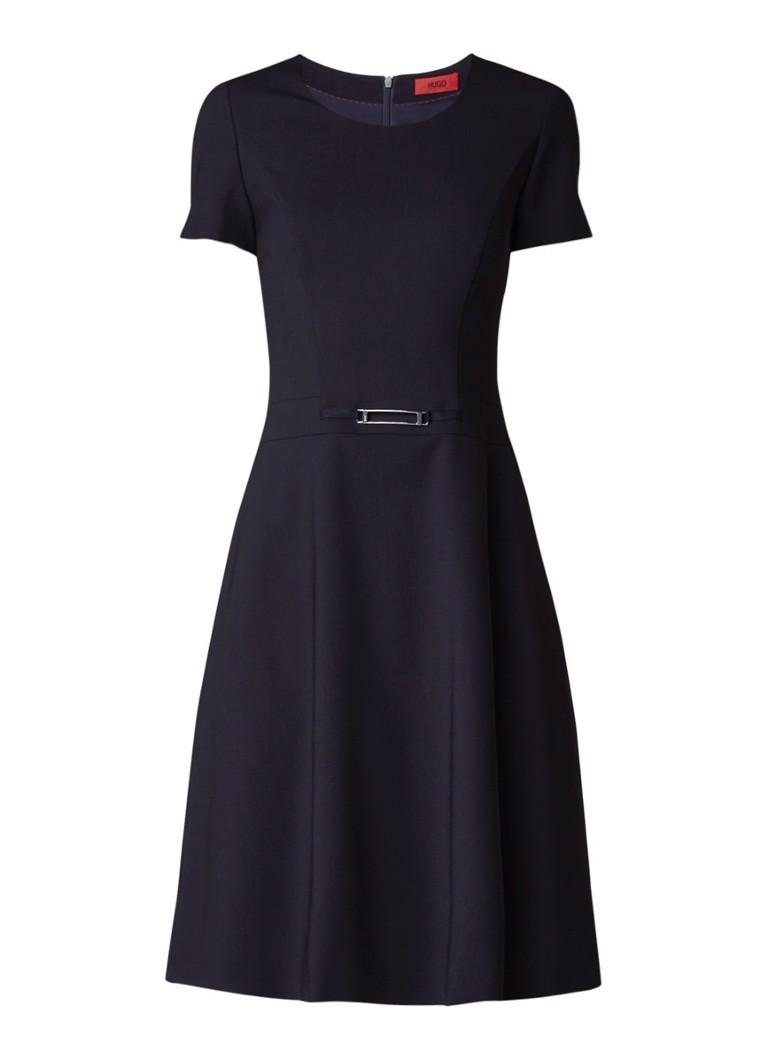 Hugo Boss Kelinda A-lijn jurk van crêpe met gespdetail zwart