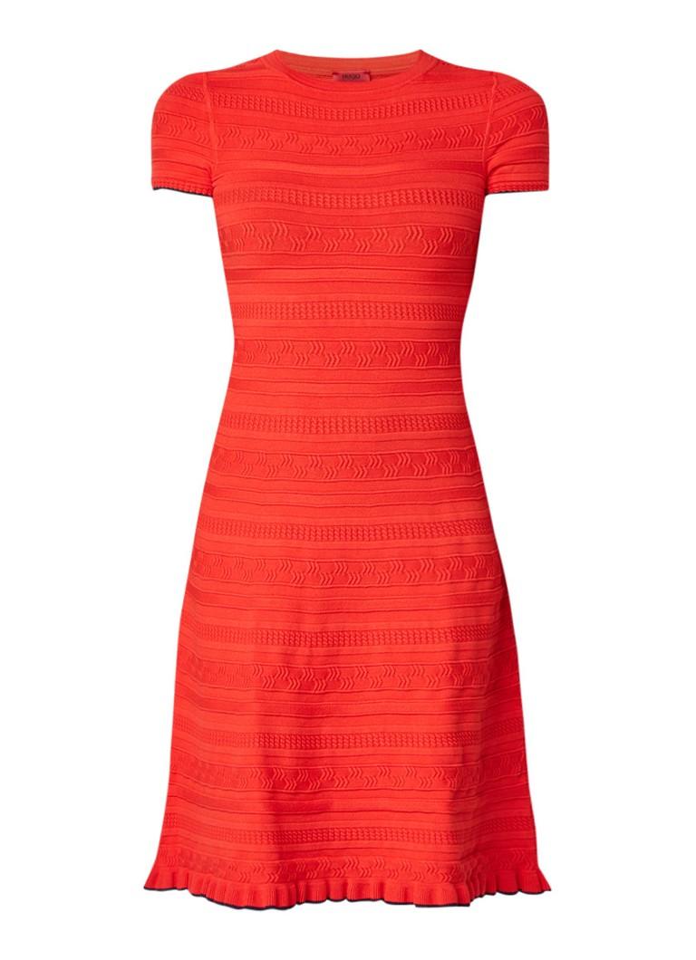 Hugo Boss Sawani fijngebreide midi-jurk met ingeweven dessin rood