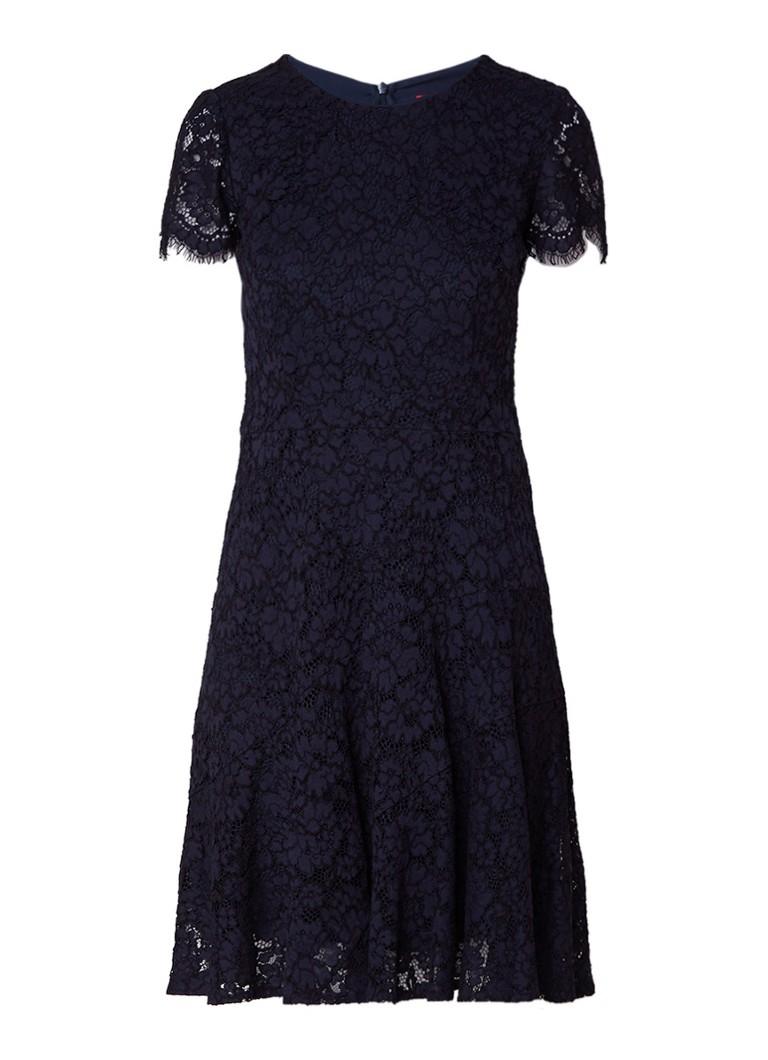 Hugo Boss Klesinia A-lijn jurk van gebloemd kant donkerblauw