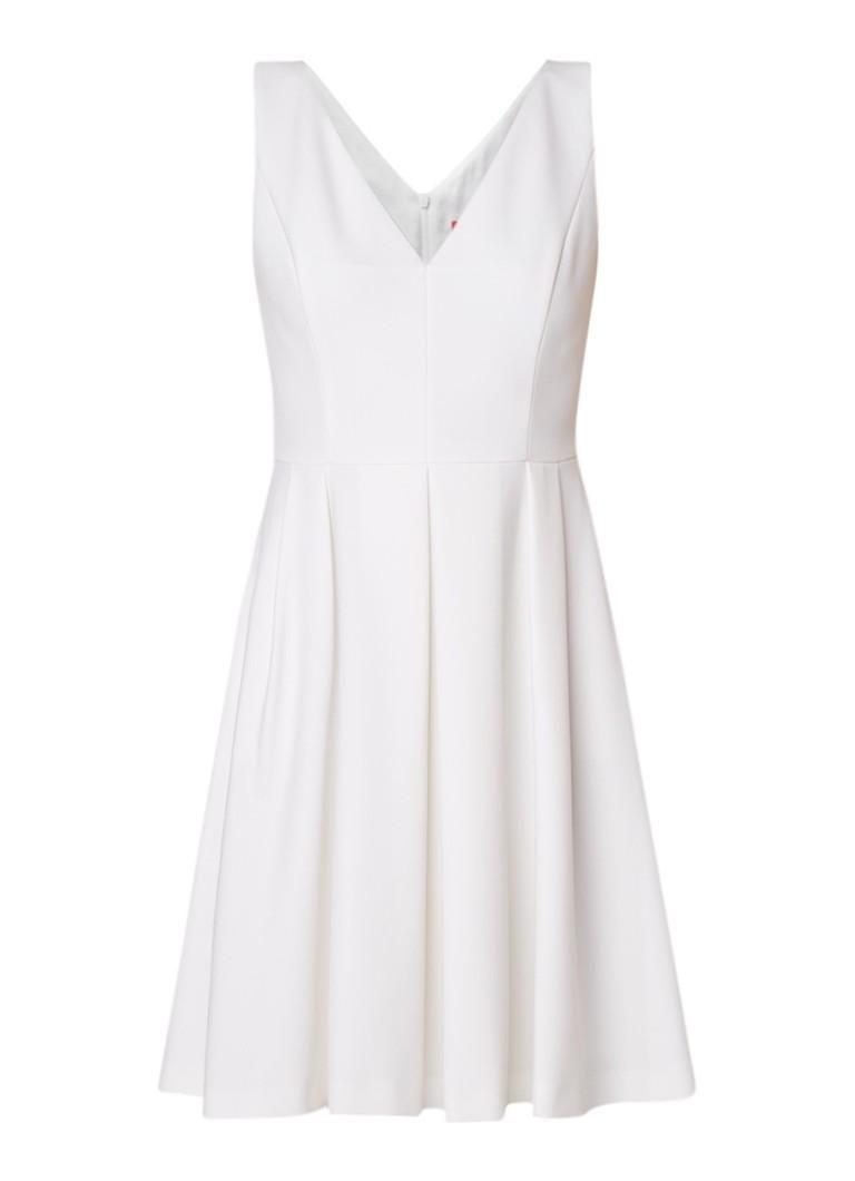 Hugo Boss Kivela A-lijn jurk met V-hals en plooien creme