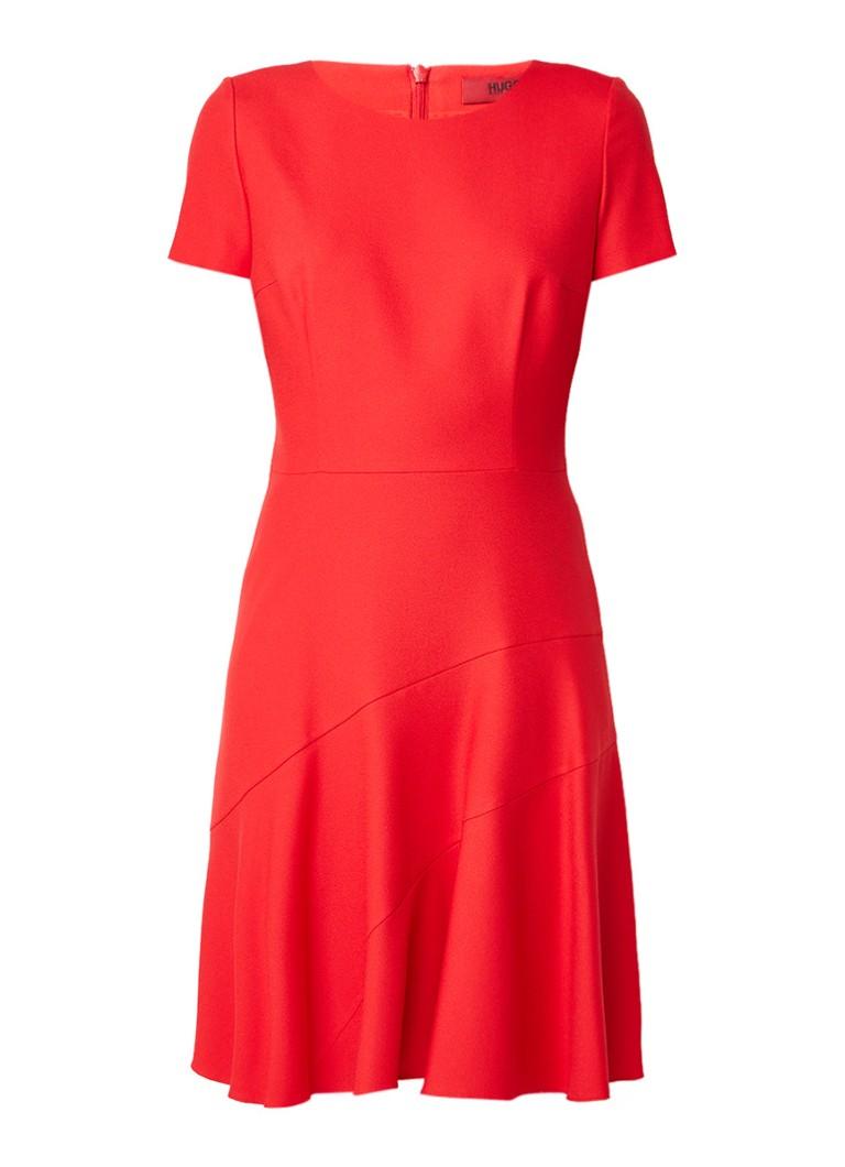 Hugo Boss Klesinia A-lijn jurk met asymmetrische siernaden rood