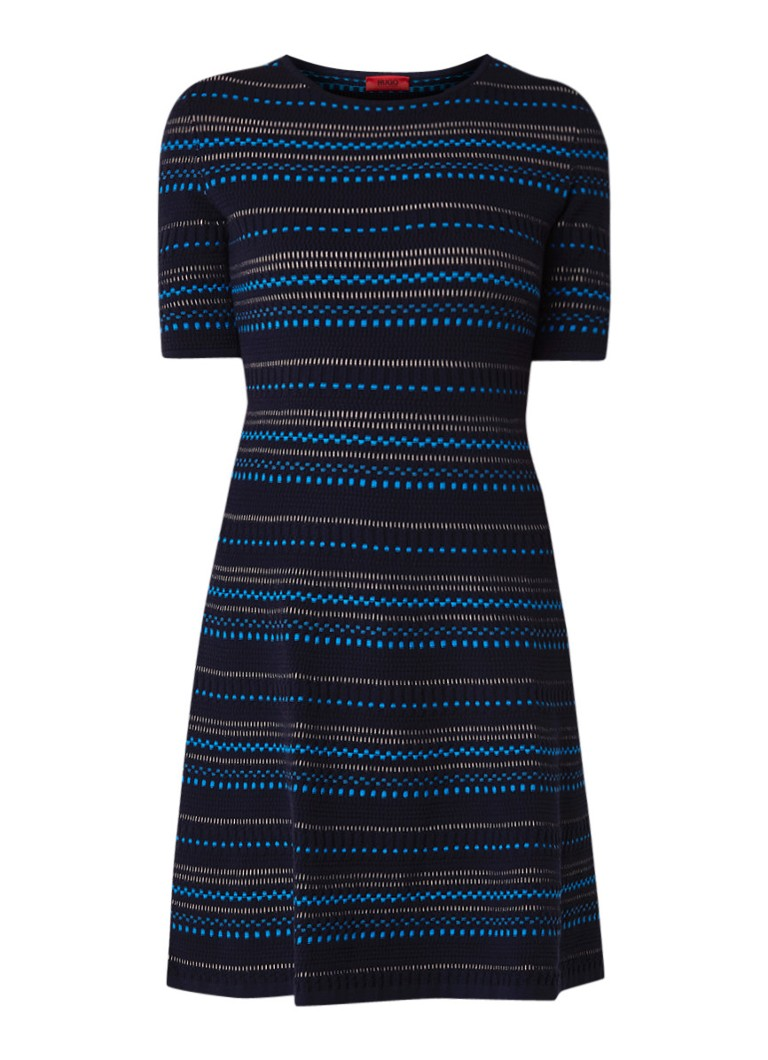 Hugo Boss Swany midi-jurk met ingeweven streepdessin multicolor