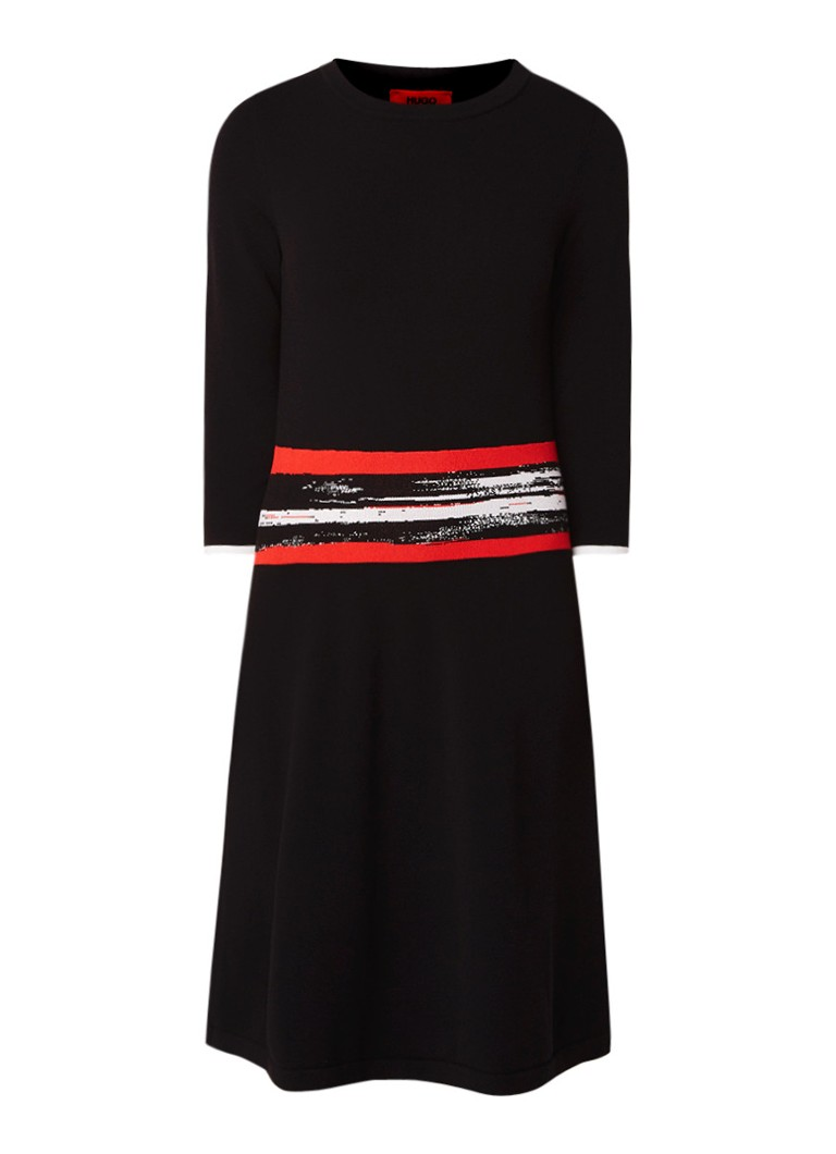 Hugo Boss Sawnika fijngebreide midi-jurk met stretch multicolor