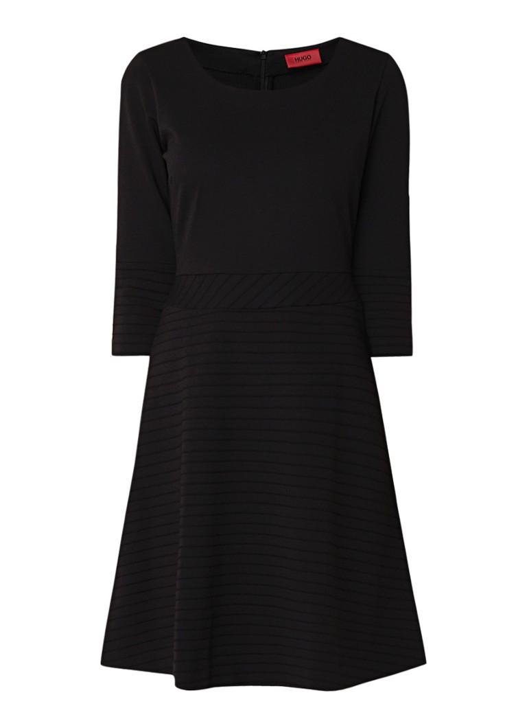 Hugo Boss Dicita gebreide A-lijn jurk met streepstructuur zwart