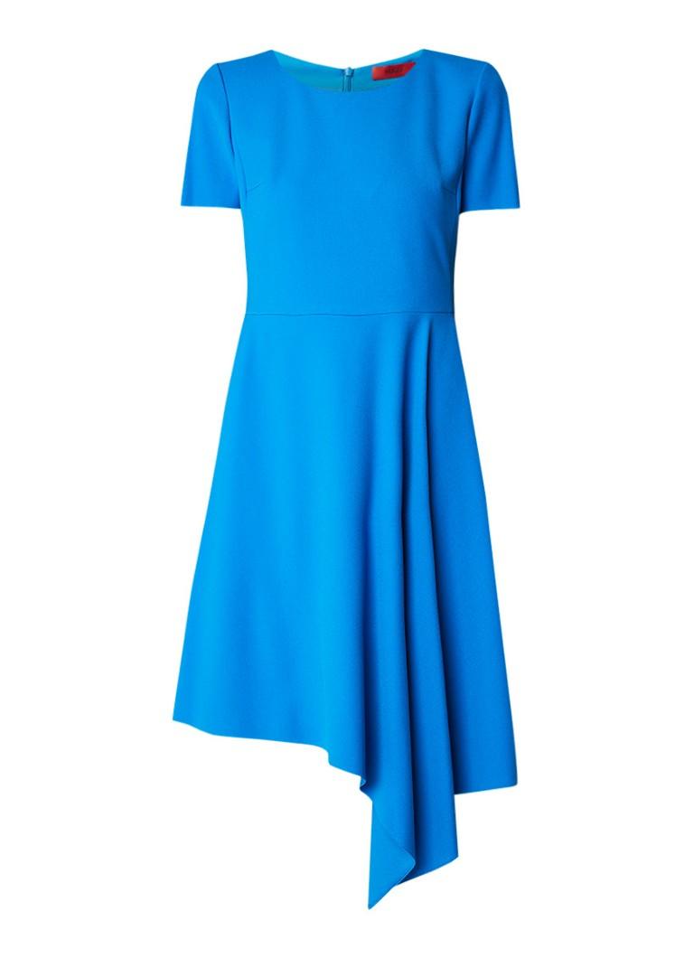 Hugo Boss Keshas midi-jurk van crêpe met asymmetrische zoom kobaltblauw
