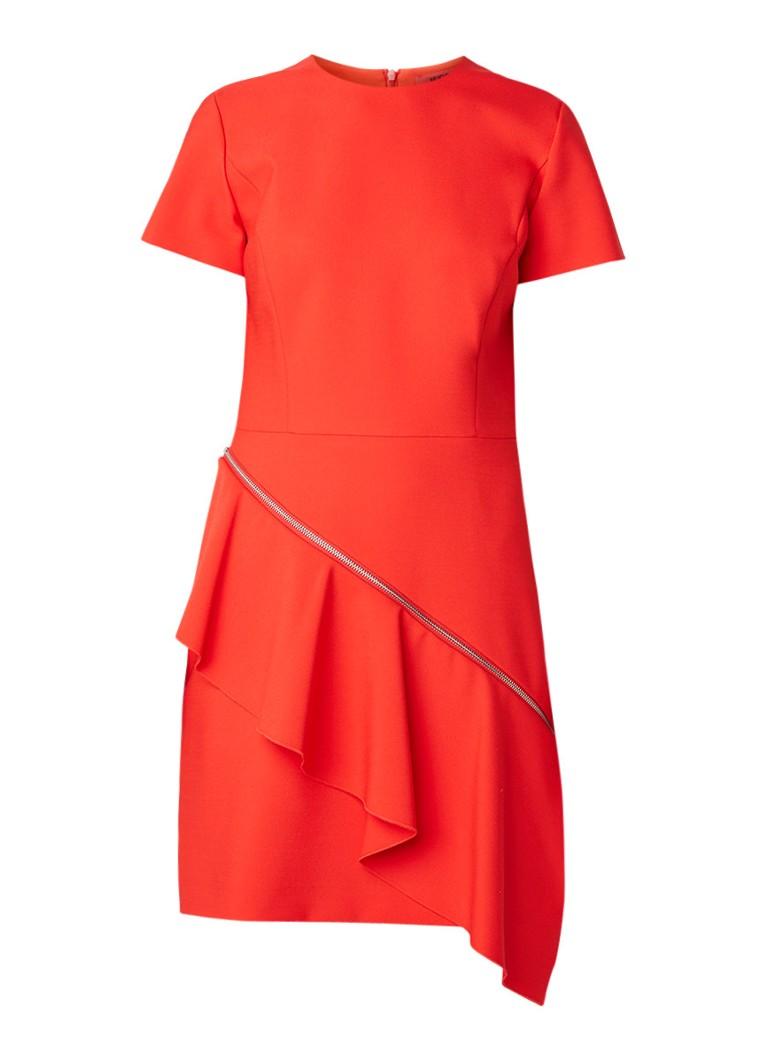 Hugo Boss Kittiri midi-jurk van stretchjersey met volantdetail oranjerood