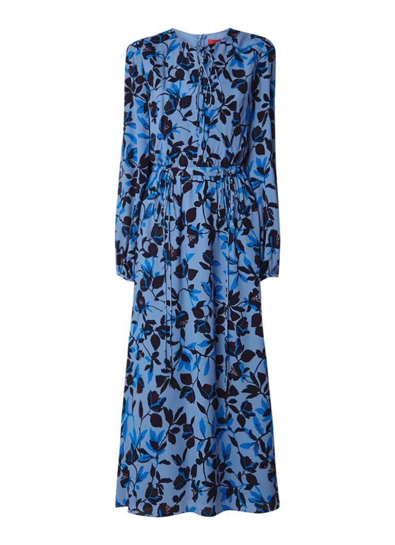 Hugo Boss Kassarina maxi-jurk met bloemendessin staalblauw