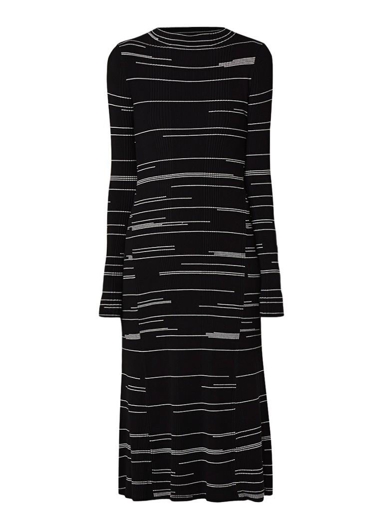 Hugo Boss Silby ribgebreide jurk met streepdessin zwart