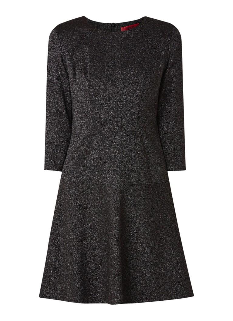Hugo Boss Kelanis A-lijn jurk met glitter finish zwart