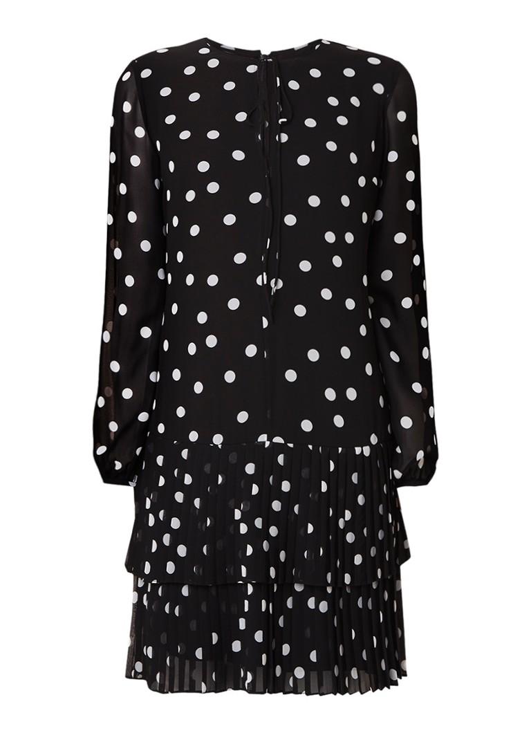 Hugo Boss Katessi gestipte tuniekjurk met geplisseerde rok zwart