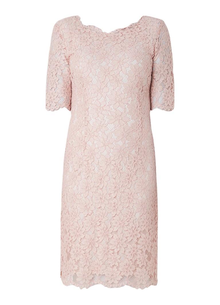 Hugo Boss Kalissy jurk van kant met V-hals lichtroze