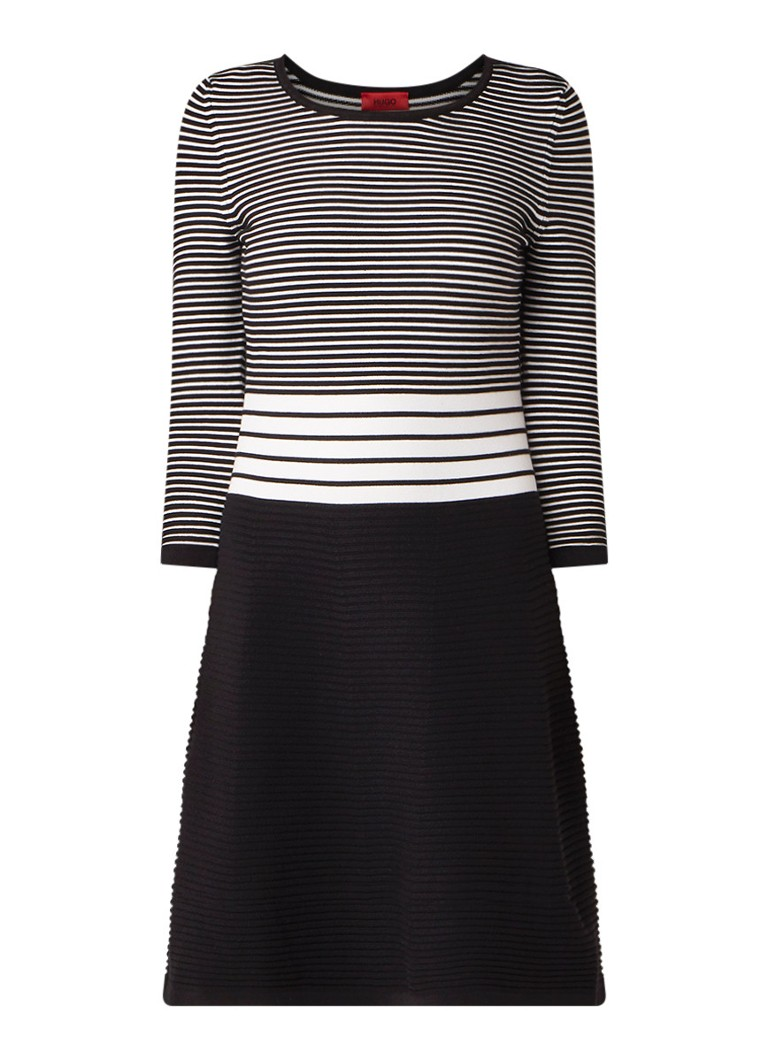 Hugo Boss Shaniwa ribgebreide mini-jurk met streepdessin zwart