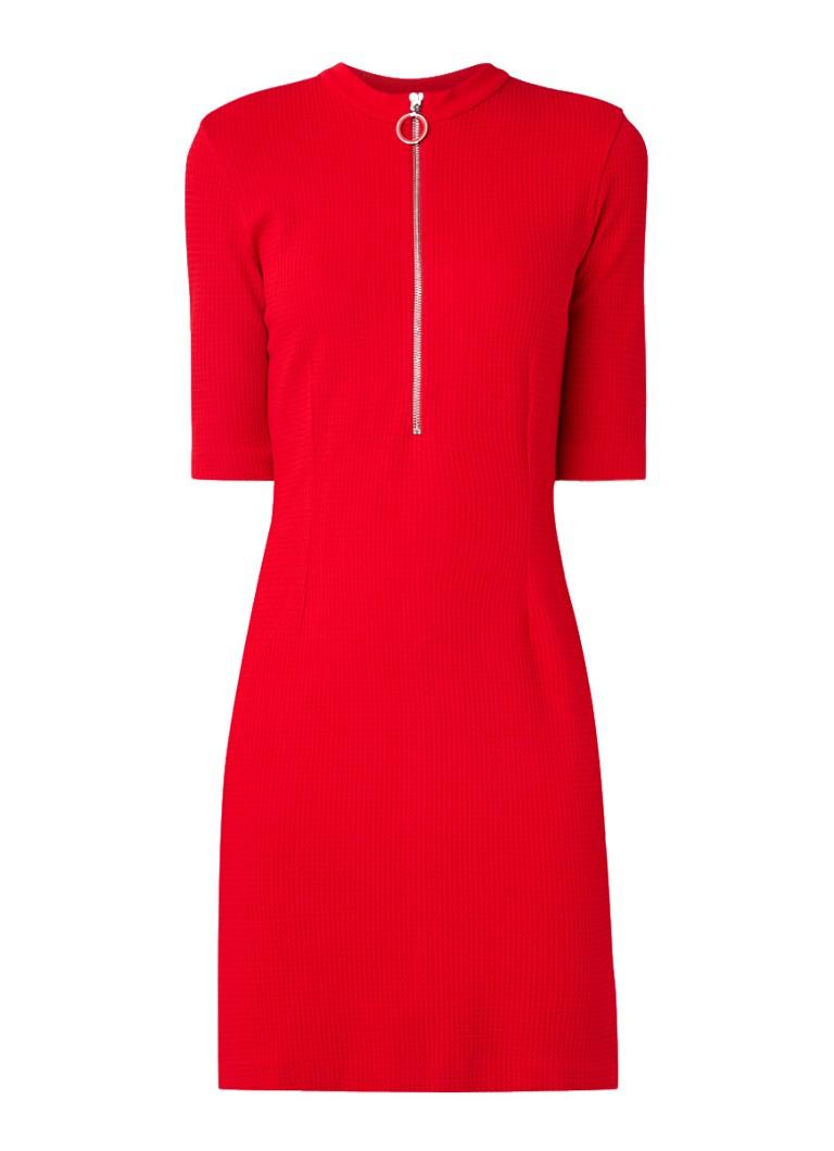 Hugo Boss Niela fijngebreide jurk met halve rits rood