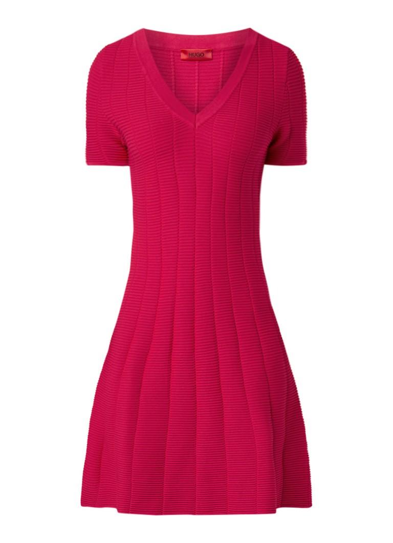 Hugo Boss Sawerya fijngebreide jurk met structuur en V-hals donkerroze