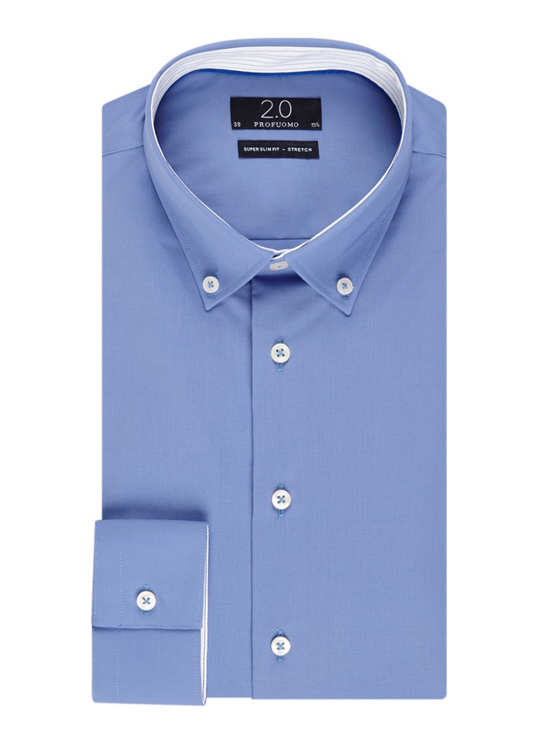 Profuomo Super slim fit overhemd in uni met stretch