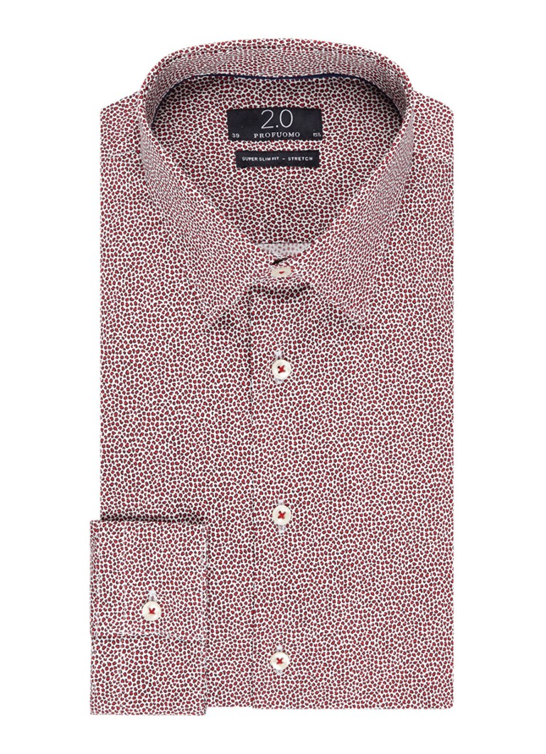 Profuomo Super slim fit overhemd met fijne animal print