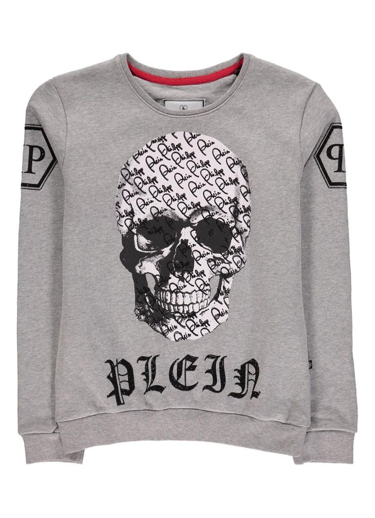 Philipp Plein By the Time sweater met skullprint en strass