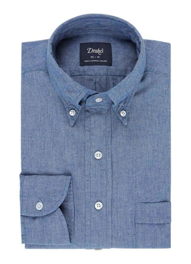 Drake's Slim fit chambray button down-overhemd