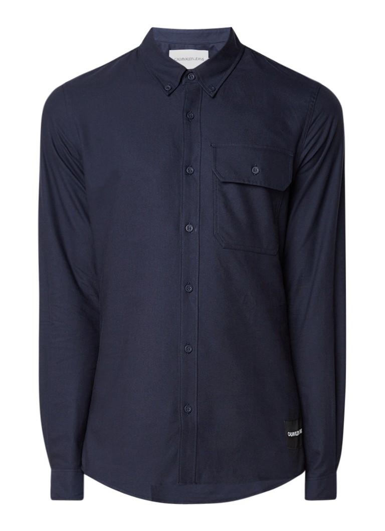 Calvin Klein Slim fit overhemd van katoen met borstzak