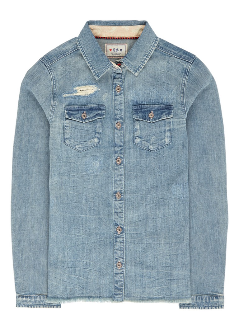 Scotch R'Belle Blouse met denimlook en destroyed details